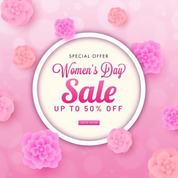 Aż Do 50% Zniżki Na Sprzedaż W Dzień Kobiet Projekt Plakatu Ozdobiony Widokiem Kwiatów Ciętych Z Góry. Premium Wektorów