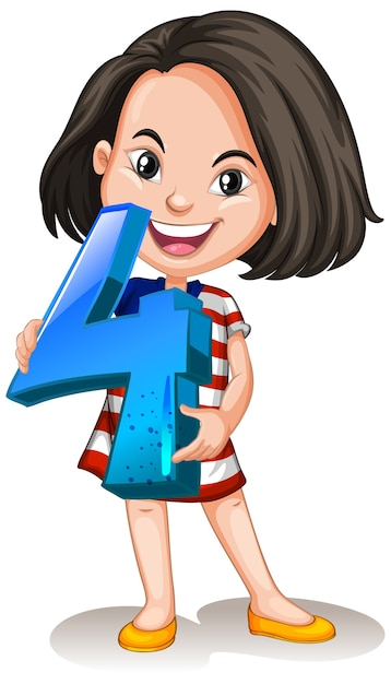 Azjatycka Dziewczyna Trzyma Numer Cztery Matematyki Darmowych Wektorów