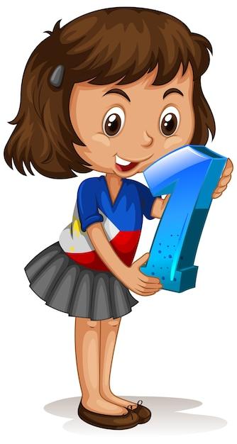 Azjatycka Dziewczyna Trzyma Numer Jeden Matematyki Darmowych Wektorów