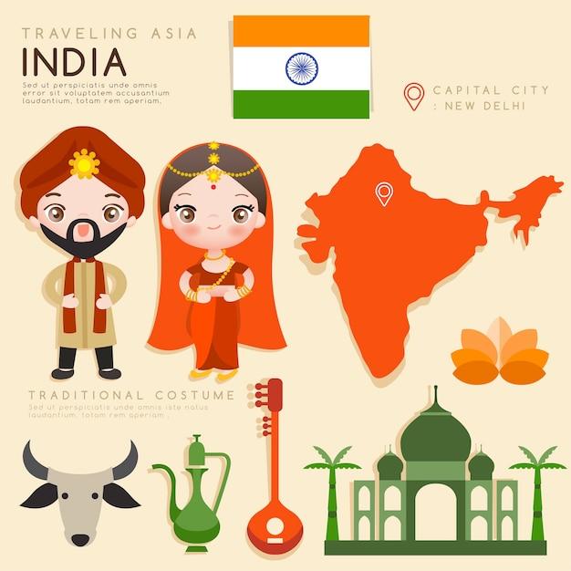 Azjatycka Infografika Przedstawiająca Tradycyjne Stroje I Atrakcje Turystyczne. Premium Wektorów