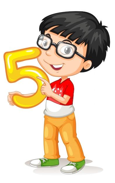 Azjatycki Chłopiec Trzyma Liczbę Pięć Darmowych Wektorów
