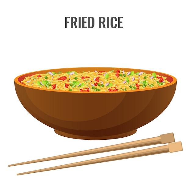 Azjatycki przepis pikantny smażony ryż Premium Wektorów