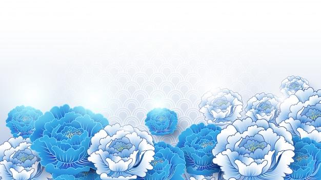 Azjatycki tradycyjny błękitny i biały kwiecisty tło Premium Wektorów