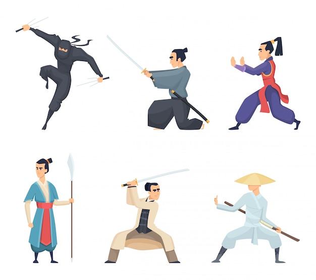 Azjatycki Wojownik, Mężczyzna Trzyma Katana Tradycyjną Japan Broń Miecza Samurajów Ninja Znaków Na Białym Tle Premium Wektorów