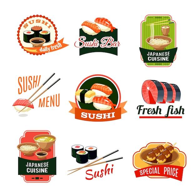 Azjatyckie etykiety żywności Darmowych Wektorów