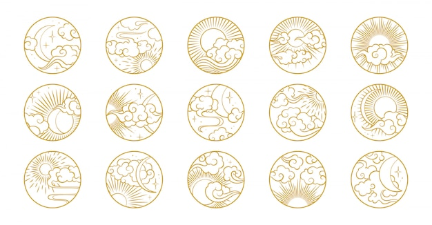 Azjatyckie koło z chmury, księżyc, słońce, gwiazdy. kolekcja wektorowa w orientalnym stylu chińskim, japońskim, koreańskim Premium Wektorów