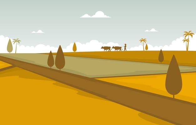 Azjatyckie Pole Ryżowe Golden Paddy Plantation Gotowe Do Zbioru Ilustracji Premium Wektorów