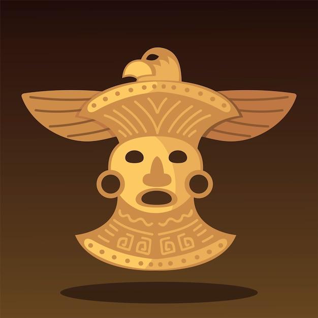 Aztec Etniczne Plemienne Skarb Ilustracja Ozdoba Ptak Premium Wektorów