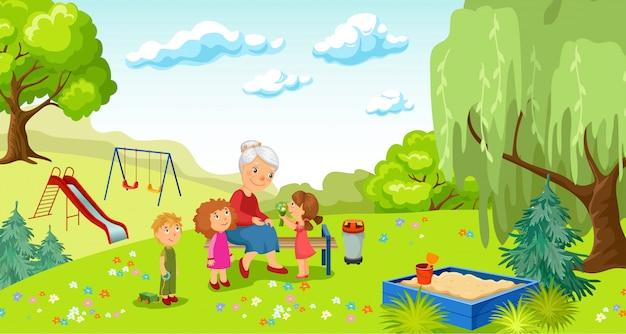 Babcia I Wnuki W Parku. Darmowych Wektorów