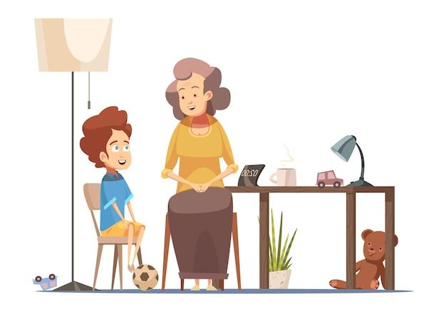 Babcia mówi do małego wnuka w jadalni tabeli starszy kobieta charakter retro kreskówka plakat ilustracji wektorowych Darmowych Wektorów