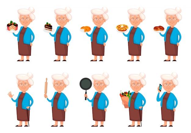 Babcia postać z kreskówki, zestaw dziesięciu pozach Premium Wektorów