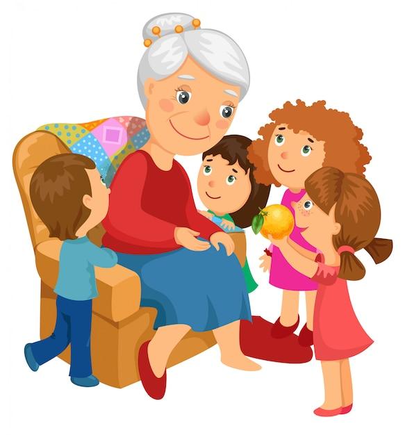 Babcia Z Wnukami. Darmowych Wektorów