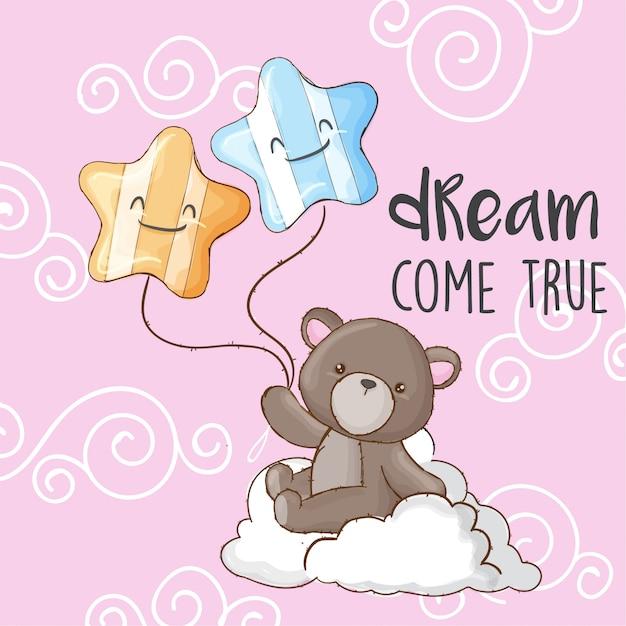 Baby bear on cloud ręcznie rysowane zwierząt Premium Wektorów