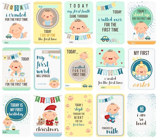 Baby boy stepping stone cards Premium Wektorów
