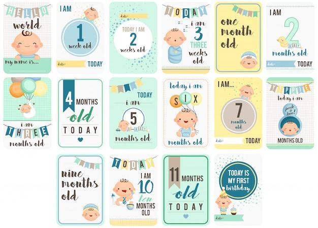 Baby boy tygodnie i miesiące karty Premium Wektorów