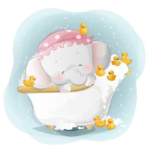 Baby Elephant Showering With The Little Ducks Premium Wektorów