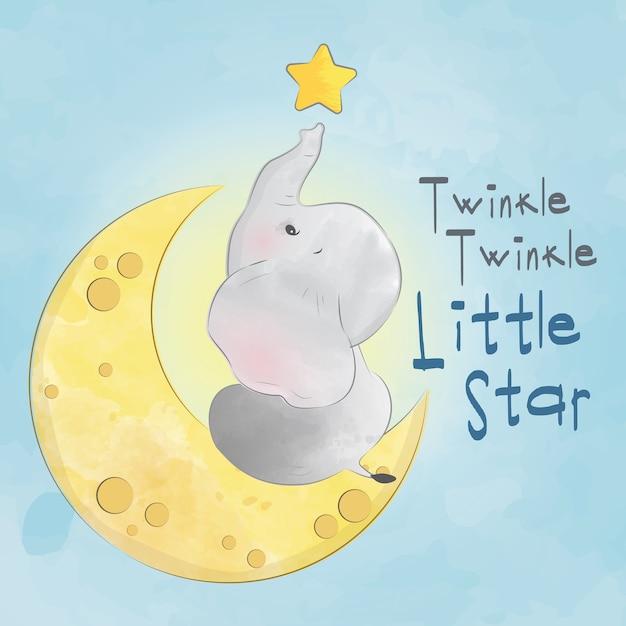 Baby Elephant Twinkle Little Little Star Premium Wektorów