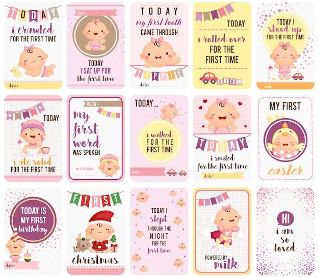 Baby girl stepping stone cards Premium Wektorów