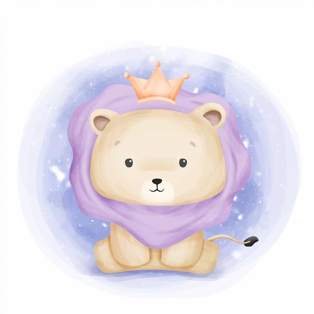 Baby leo king of jungle Premium Wektorów