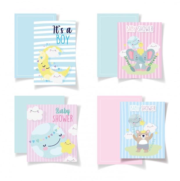 Baby Prysznic Karty Słodkie Niedźwiedź Słoń Księżyc Chmury Premium Wektorów