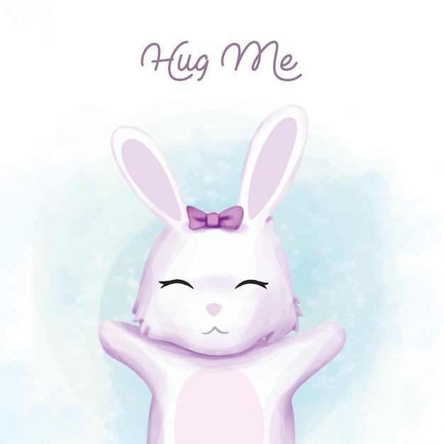 Baby Rabbit Chcesz Być Przytulony Premium Wektorów