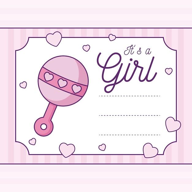 Baby Shower Card To Dziewczyna Z Grzechotką Premium Wektorów