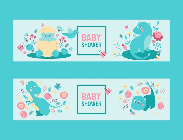 Baby Shower Dinozaury Chłopiec Lub Dziewczynka Wektor Zaproszenie. Słodkie Dziecko Dinozaury Dinozaury I Smoki Wykluwające Się Z Jajka, Siedząc W Kwiatach Premium Wektorów