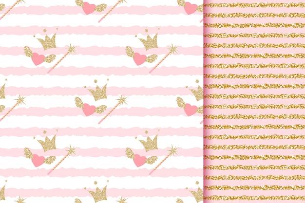Baby Shower Dziewczynka I Chłopiec Księżniczka I Książę Bez Szwu Wzorów Ze Złotymi Brokatowymi Koronami, Magiczną Różdżką, Aniołkami W Różowe Paski Premium Wektorów