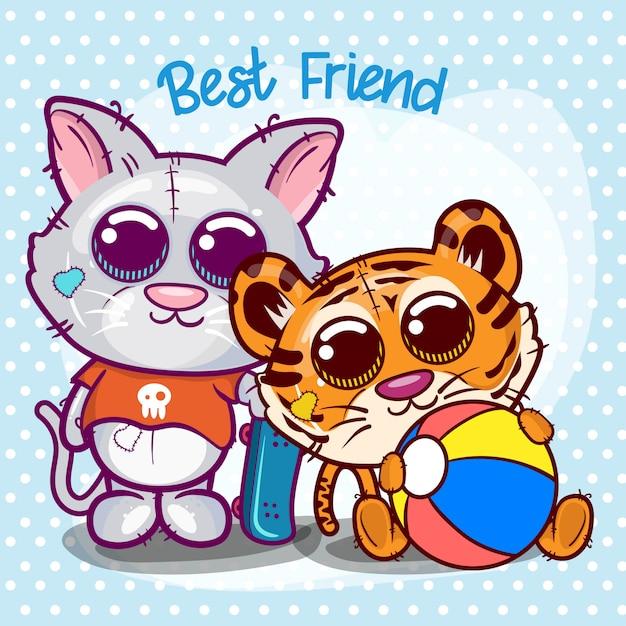 Baby shower kartkę z życzeniami z cute cartoon tygrysa i kota - wektor Premium Wektorów
