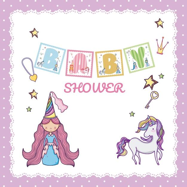 Baby Shower Księżniczka Premium Wektorów