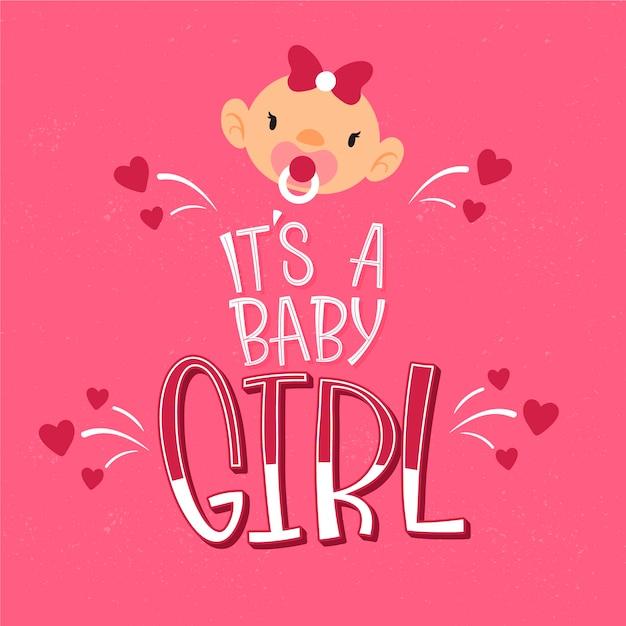 Baby Shower Z Dziewczyną Darmowych Wektorów