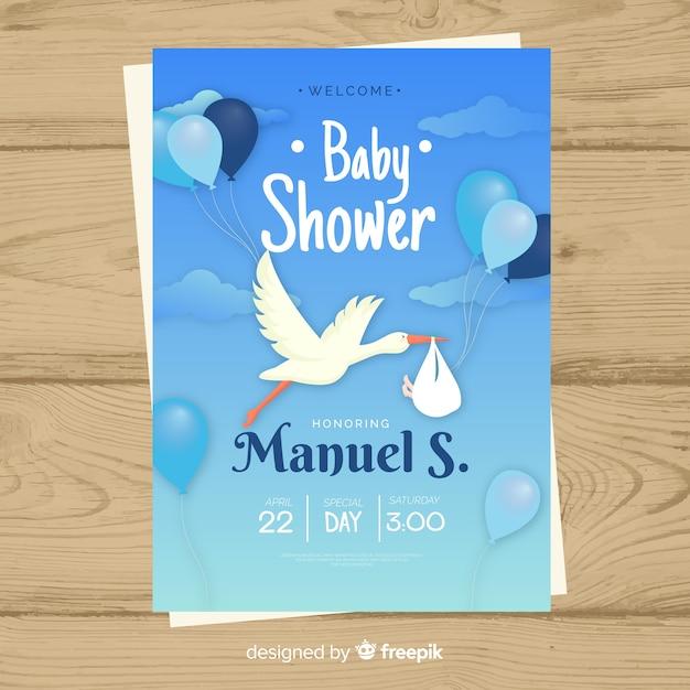 Baby shower zaproszenia karty szablon Darmowych Wektorów
