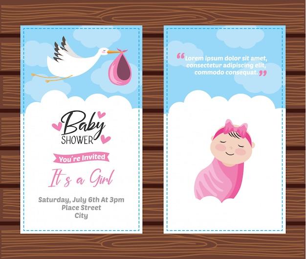 Baby shower zaproszenia karty szablon Premium Wektorów