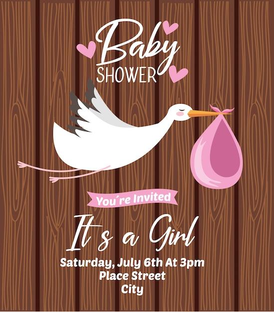 Baby shower zaproszenia karty Premium Wektorów