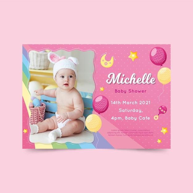 Baby Shower Zaproszenia Szablon Dla Koncepcji Dziewczyny Darmowych Wektorów