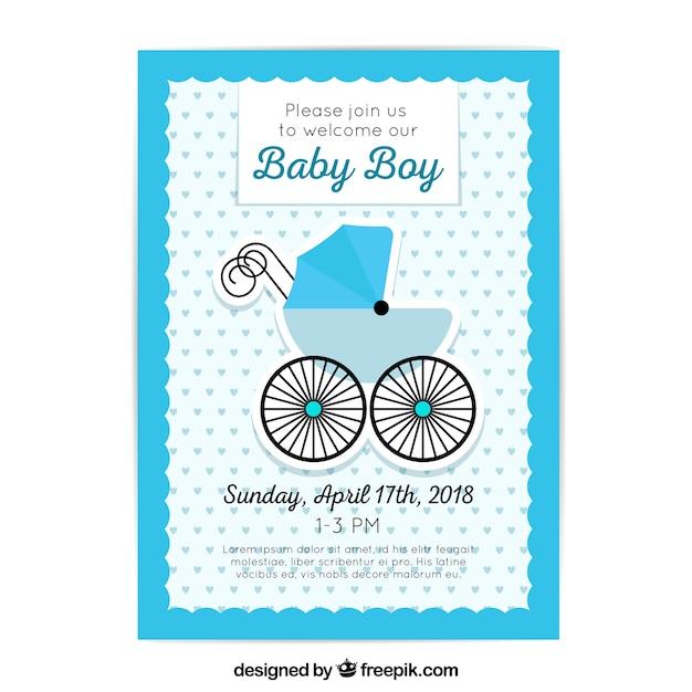 Baby shower zaproszenia w stylu płaski Darmowych Wektorów