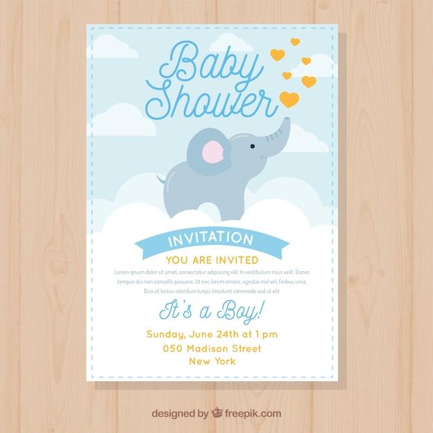 Baby Shower Zaproszenia Z Cute Słoń Darmowych Wektorów