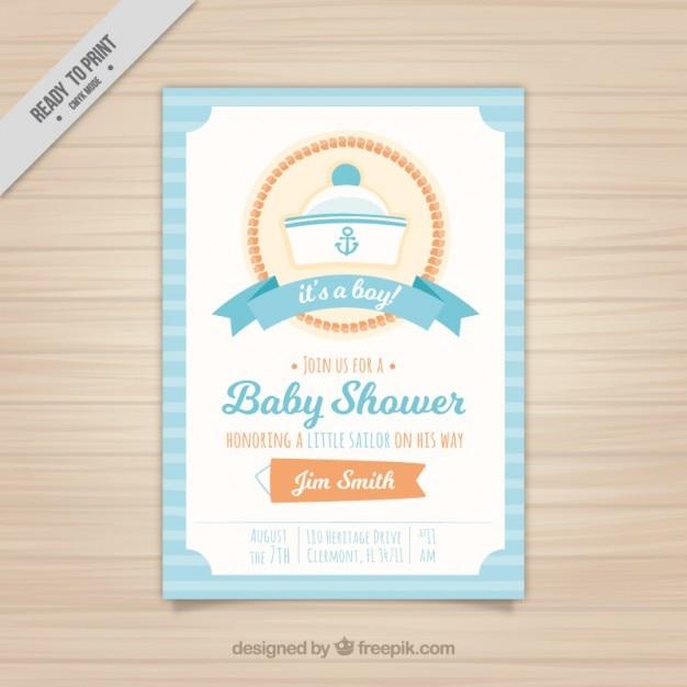 Baby shower zaproszenia z kapelusza marynarskim Darmowych Wektorów