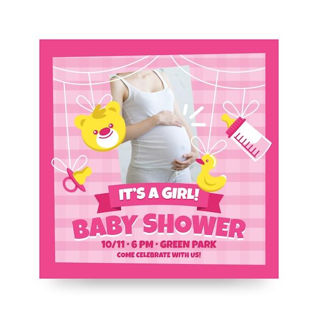 Baby Shower Zaproszenia Z Kobietą W Ciąży Darmowych Wektorów