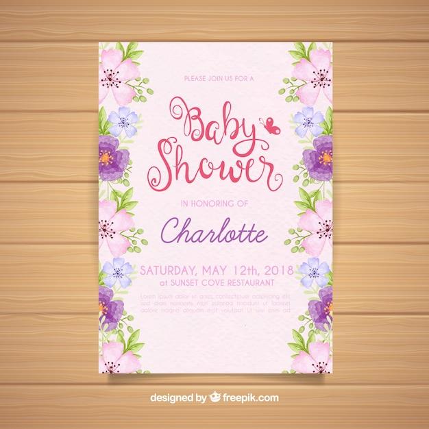 Baby shower zaproszenia z kwiatami w stylu przypominającym akwarele Darmowych Wektorów