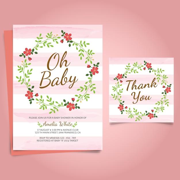 Baby Shower Zaproszenia Z Kwiatem Darmowych Wektorów