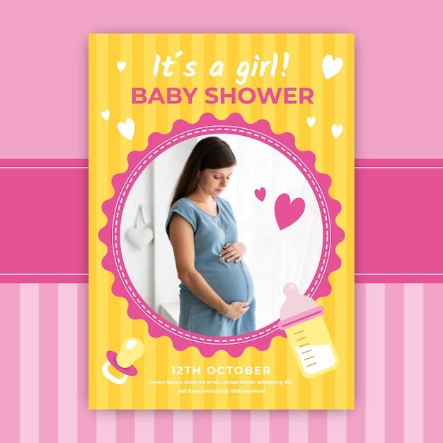 Baby Shower Zaproszenia Z Piękną Kobietą W Ciąży Darmowych Wektorów