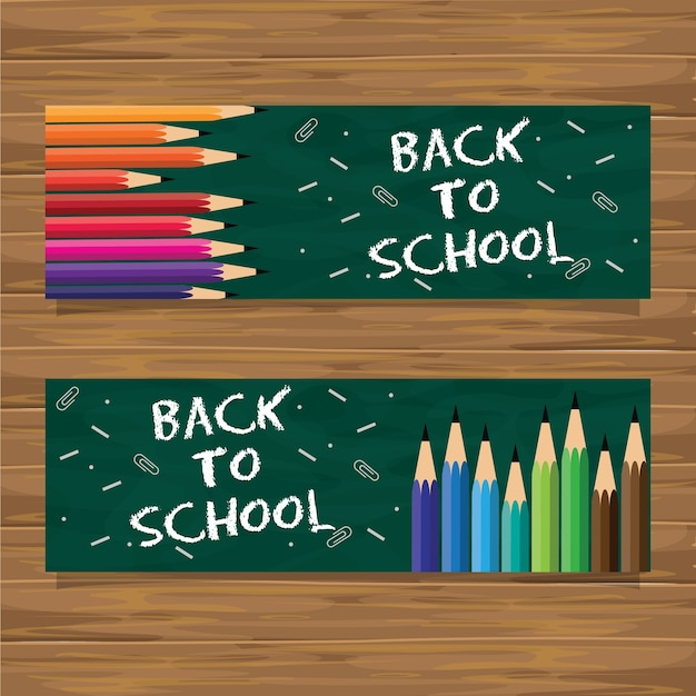 Back To School Banner Set With Colored Pencil Premium Wektorów