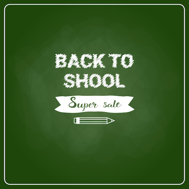 Back To School Chalked Label Na Zielonej Tablicy Tle Premium Wektorów