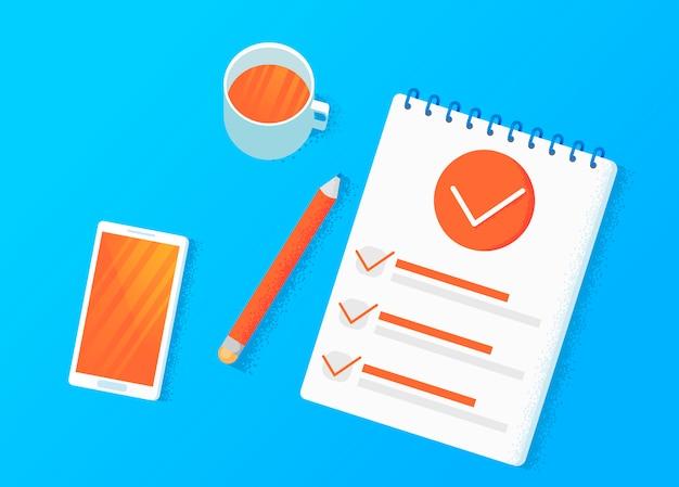 Badania ankietowe. dokonaj wyboru na tablecie. szablony listy kontrolnej. Darmowych Wektorów