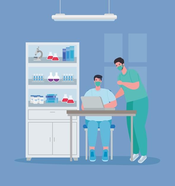 Badania Szczepionek Medycznych, Lekarze Mężczyźni W Laboratorium Dla Ilustracji Badań Naukowych Dotyczących Zapobiegania Wirusom Premium Wektorów