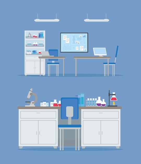 Badania Szczepionek Medycznych, Scena Laboratorium, Dla Ilustracji Badań Naukowych Dotyczących Zapobiegania Wirusom Premium Wektorów