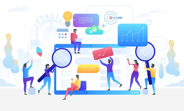 Badanie danych. koncepcja narzędzi informacji cyfrowej analityki. Premium Wektorów