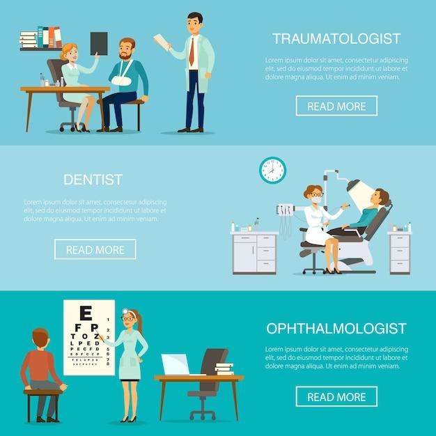 Badanie Lekarskie Poziome Banery Darmowych Wektorów
