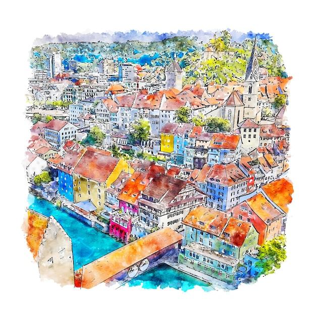 Baden Village Szwajcaria Szkic Akwarela Ręcznie Rysowane Ilustracji Premium Wektorów